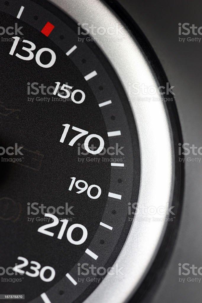 Macro close-up of speedometer, range from 130 to 230 km/h stock photo