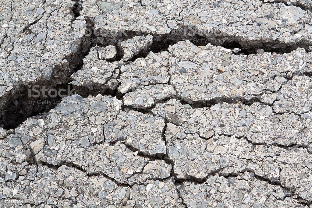 Macro closeup on concrete asphalt cracks on the road. stock photo