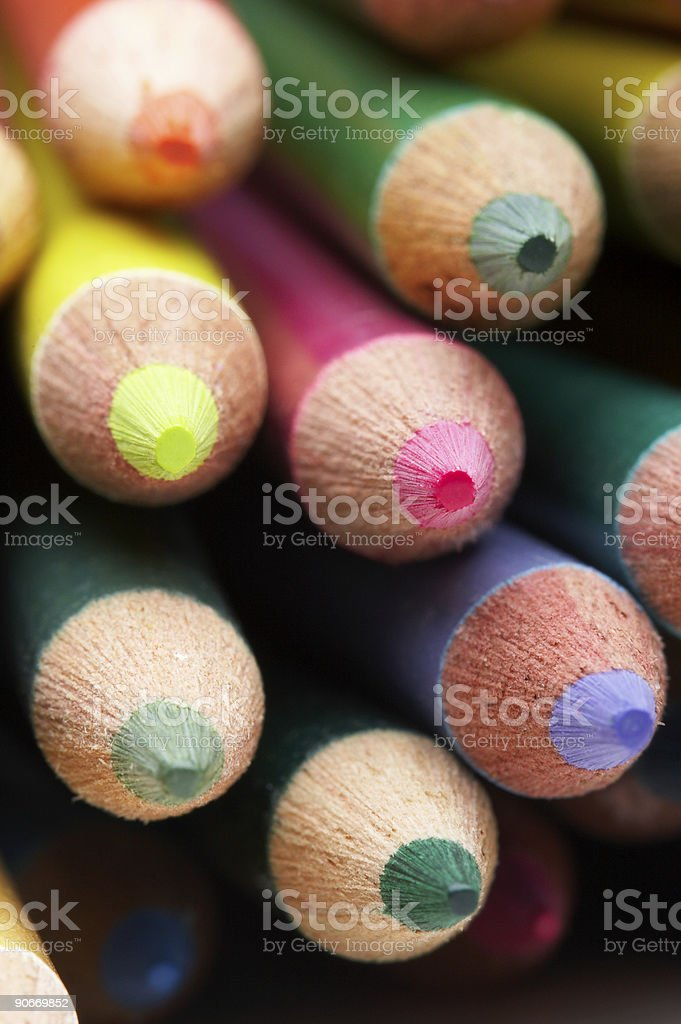 Macro Colored Pencil Tips stock photo