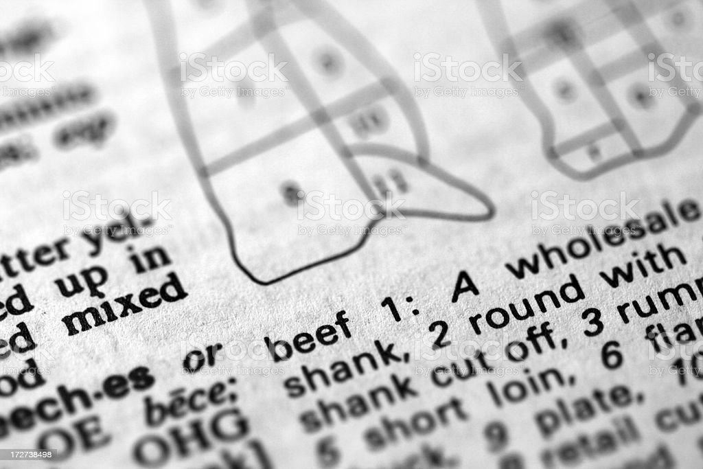 Macro definition of beef in dictionary stock photo