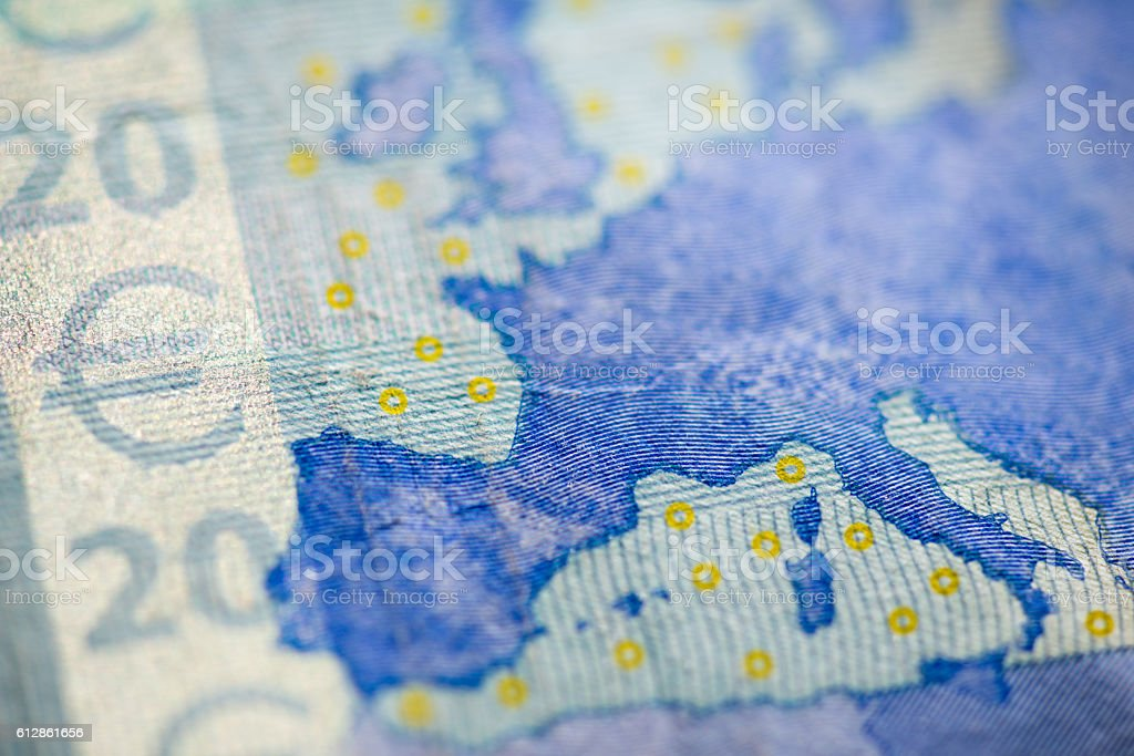 Macro detail of euro currency money banknote: 20 euro stock photo