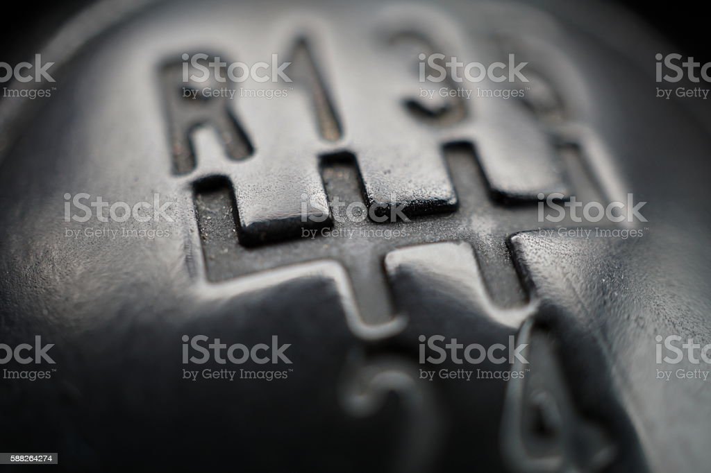 Macro detail of knob of manual shift gear (gear stick) stock photo
