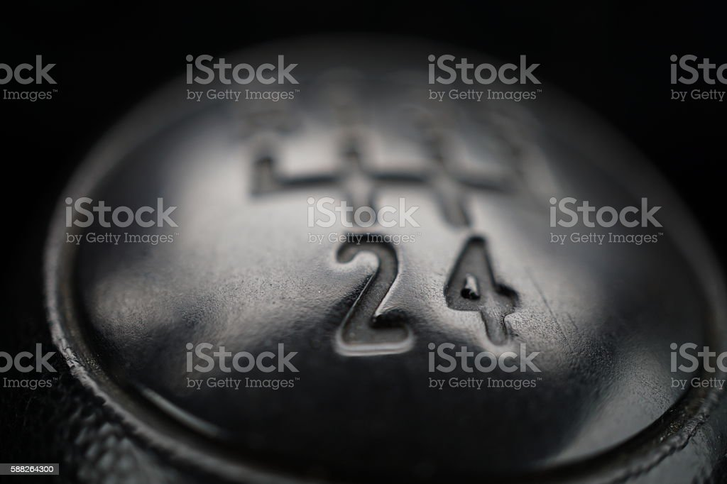 Macro detail of knob of manual shift gear (gear stick) stock photo