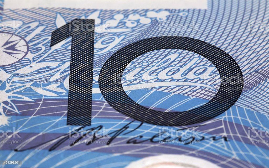 Macro detail of TEN on used Australian Dollar banknote royalty-free stock photo