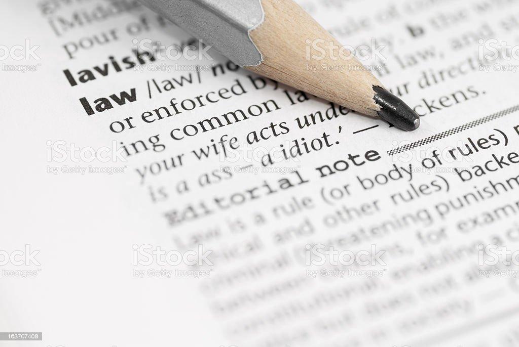 Macro Dictionary Word:  Law. royalty-free stock photo