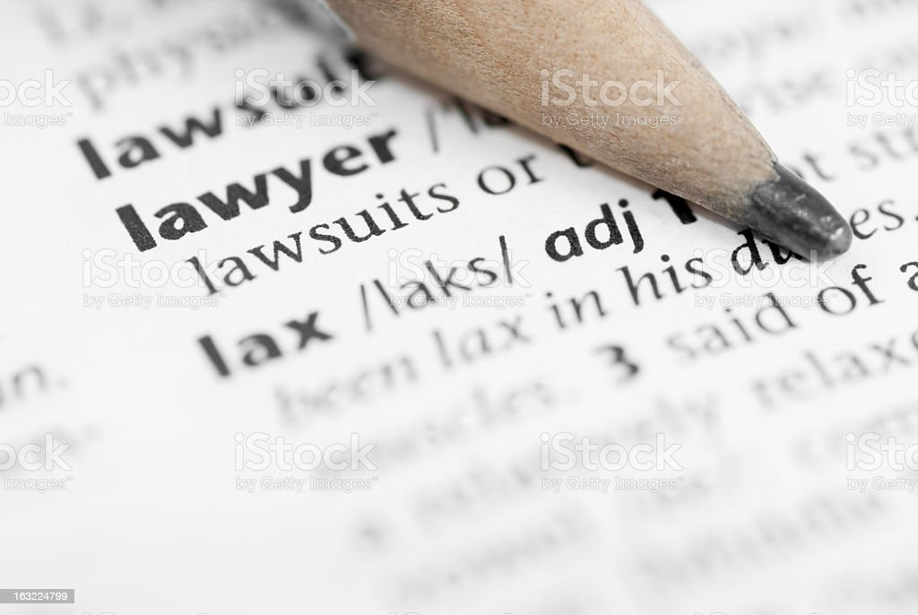 Macro Dictionary Word: Lawyer. stock photo
