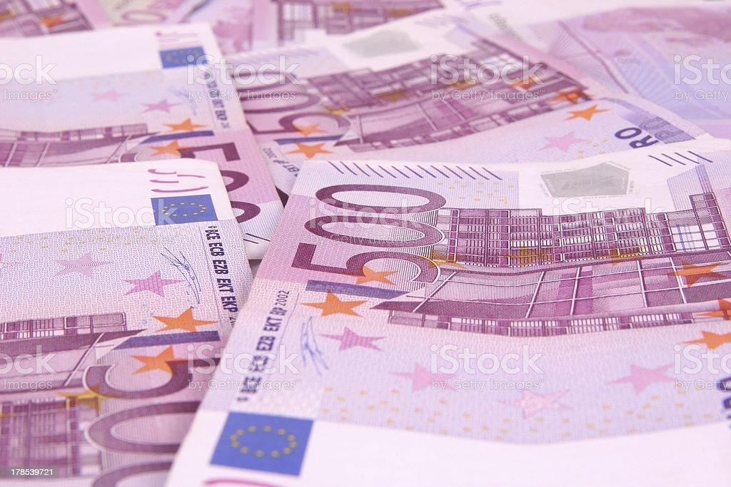 Macro Euro Background 500 banknotes stock photo