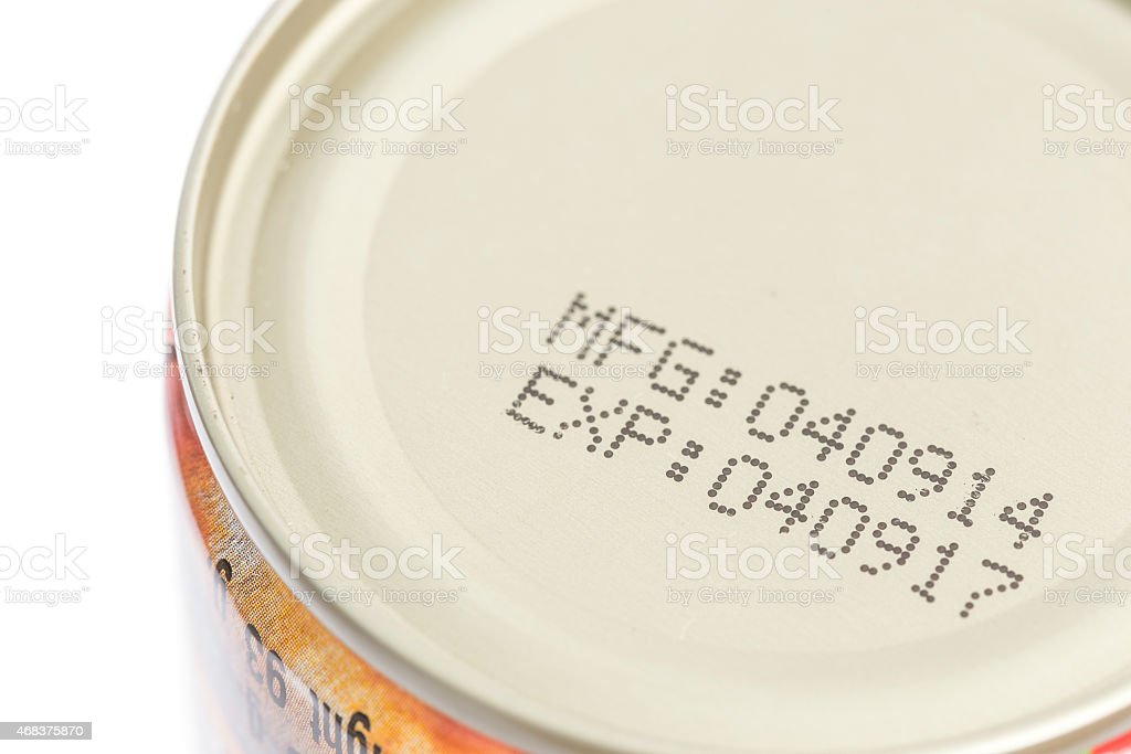 Macro expiration date on canned food stock photo