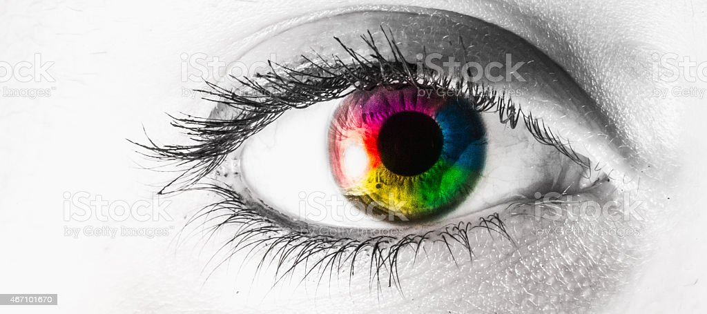 Macro eye multi colored rainbow stock photo