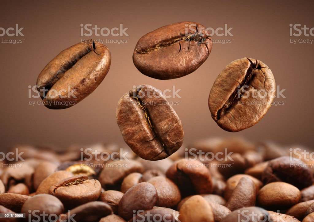 Macro falling coffee bean on brown background stock photo