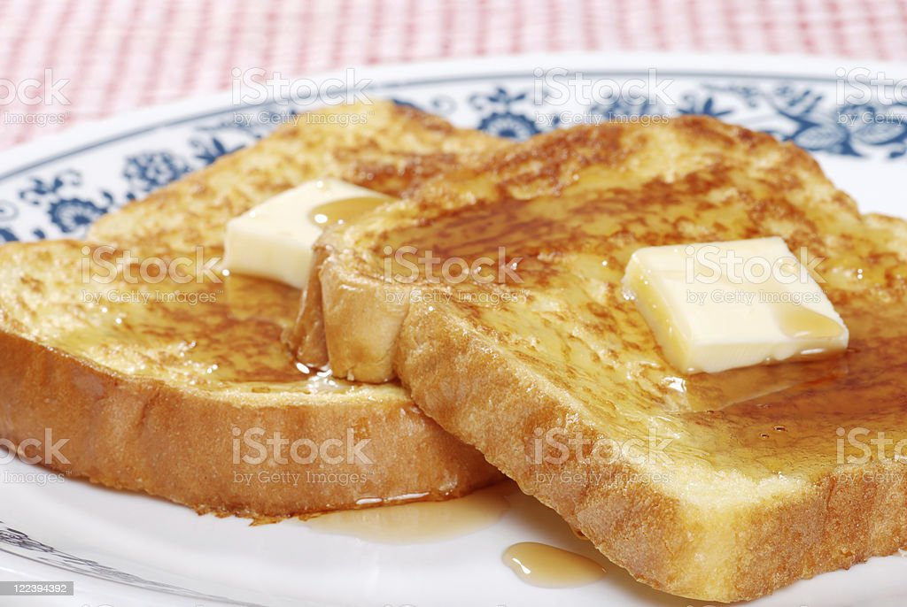 macro french toast and syrup stock photo