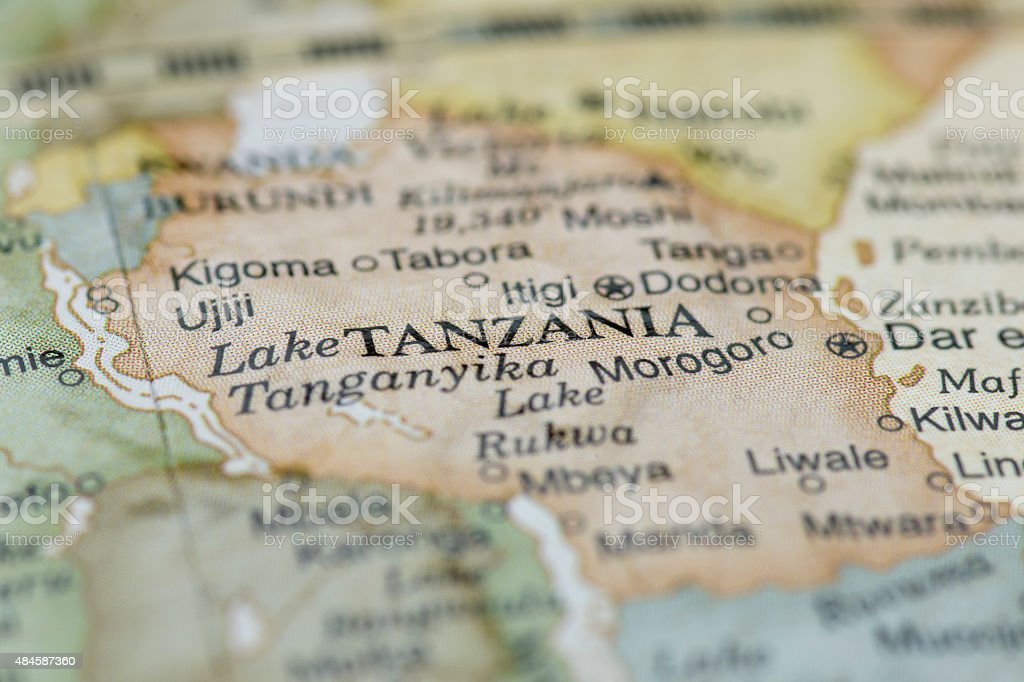Macro globe map detail of Tanzania stock photo