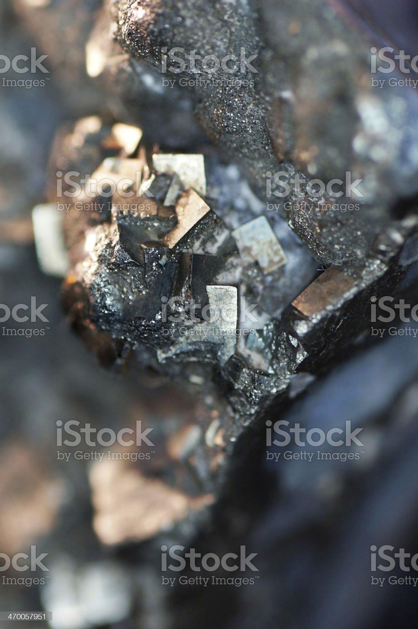 Macro hematite & quartz minerals royalty-free stock photo