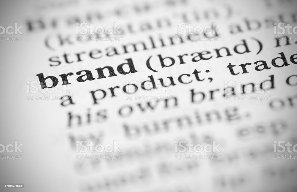 Macro image dictionary definition of brand royalty-free stock photo