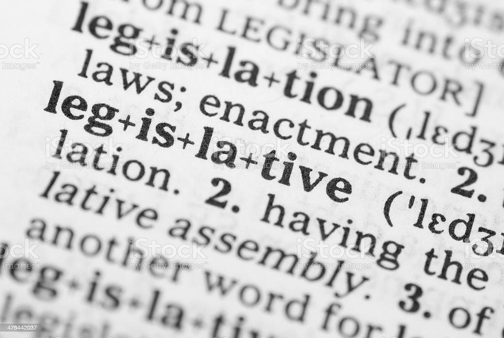 Macro image dictionary definition of legislative stock photo