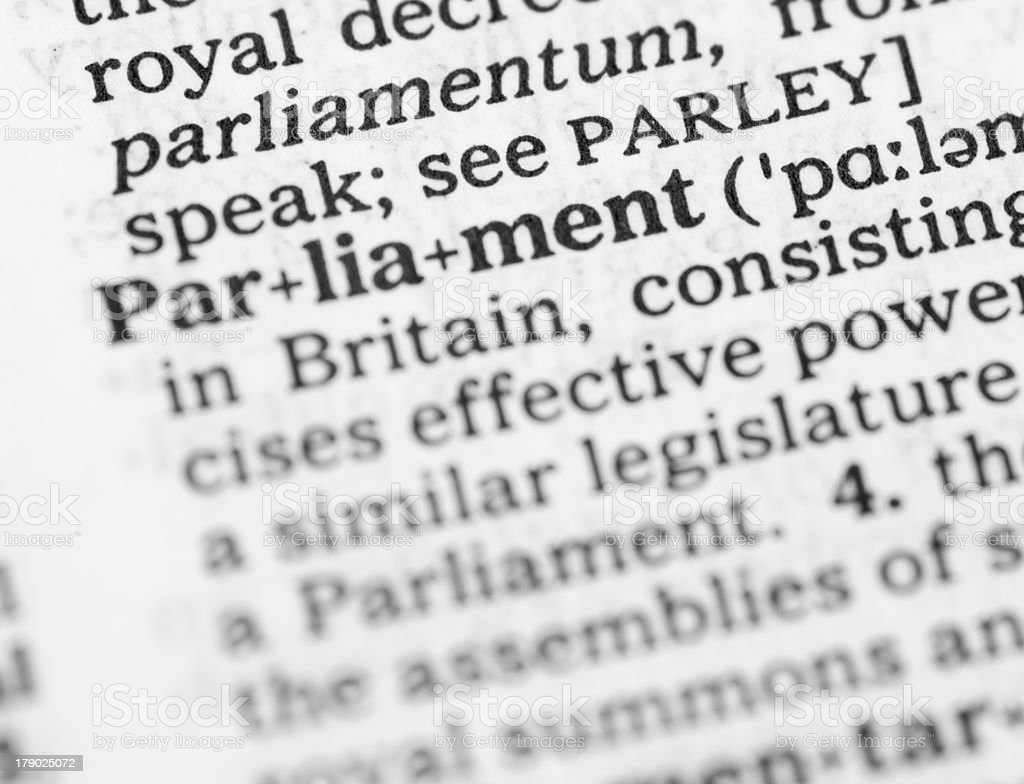 Macro image dictionary definition of parliament royalty-free stock photo
