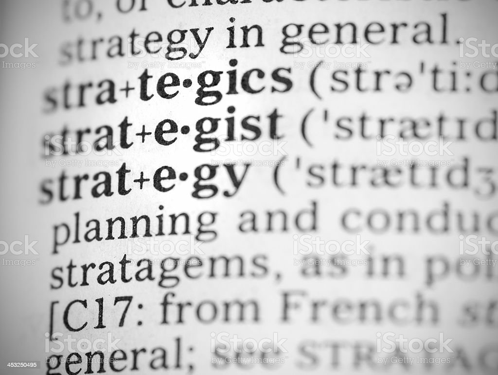 Macro image dictionary definition of strategy royalty-free stock photo
