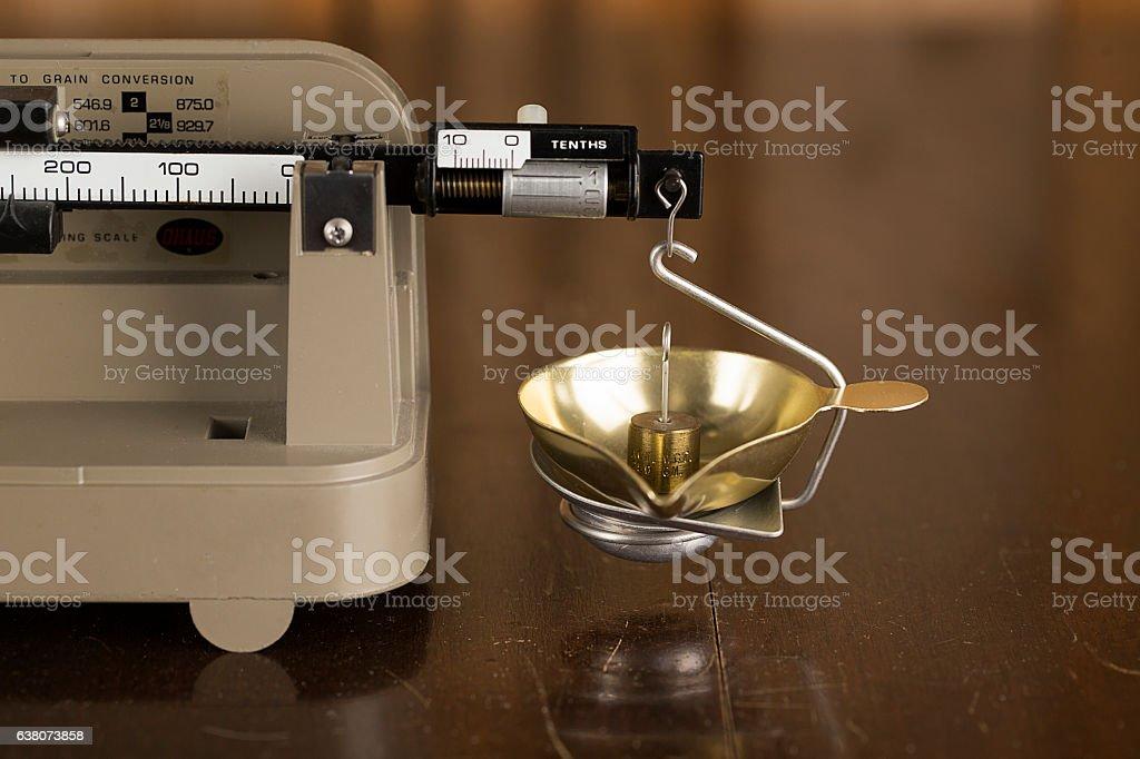 Macro Image of an Old Balance Scale stock photo