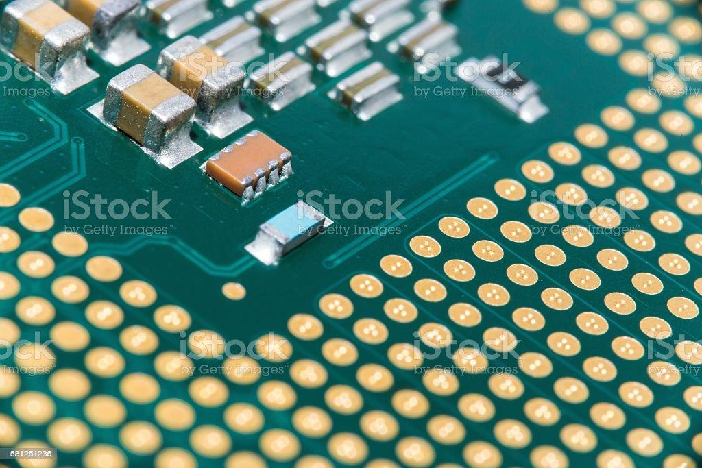 Imagen de macro de la CPU; Fondo de microchip foto de stock libre de derechos