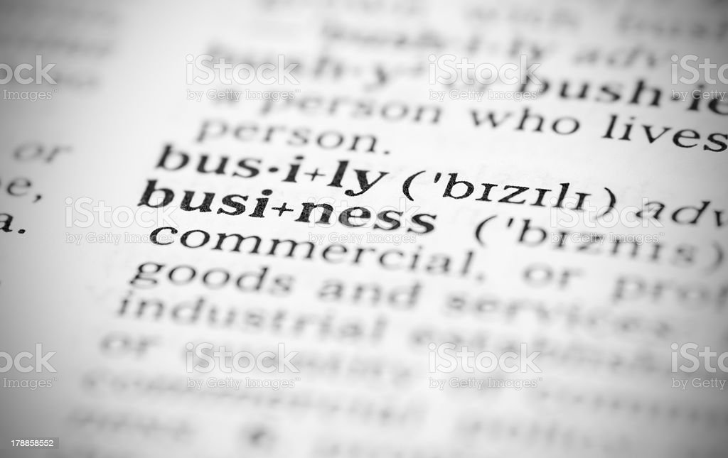 Macro image of dictionary definition for business royalty-free stock photo