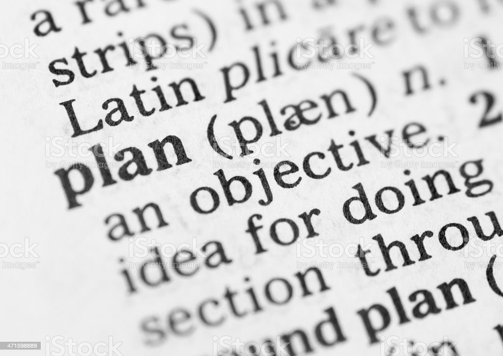 Macro image of dictionary definition for plan royalty-free stock photo