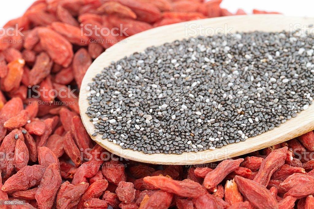 Macro image of Goji berries and chia seeds superfoods stock photo