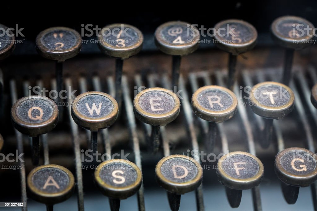 Macro image of keys on an old fashioned typewriter stock photo