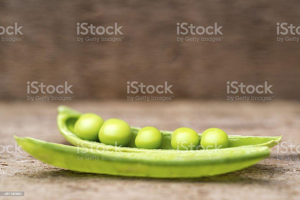 Macro image of rersh Sugar Snap peas in pod stock photo