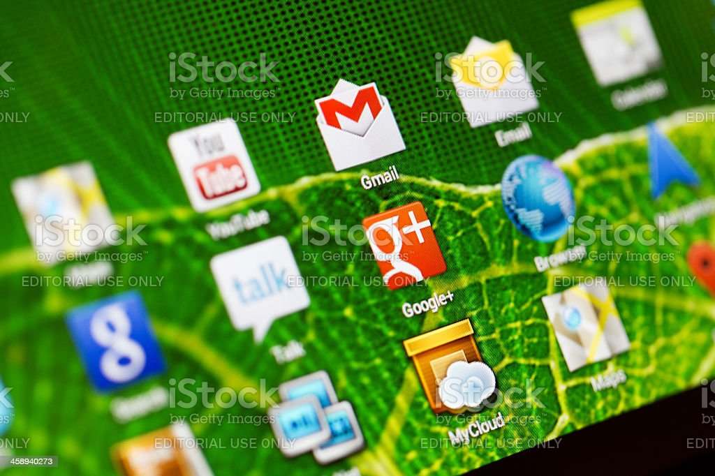 Macro image of the icons on a tablet royalty-free stock photo