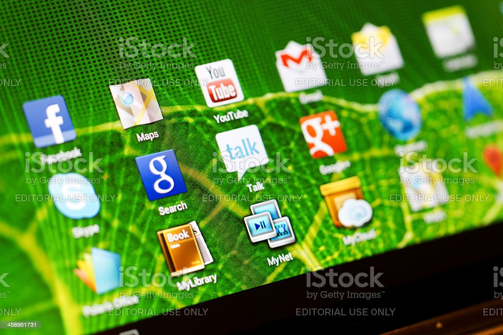 Macro image of the icons on a tablet stock photo