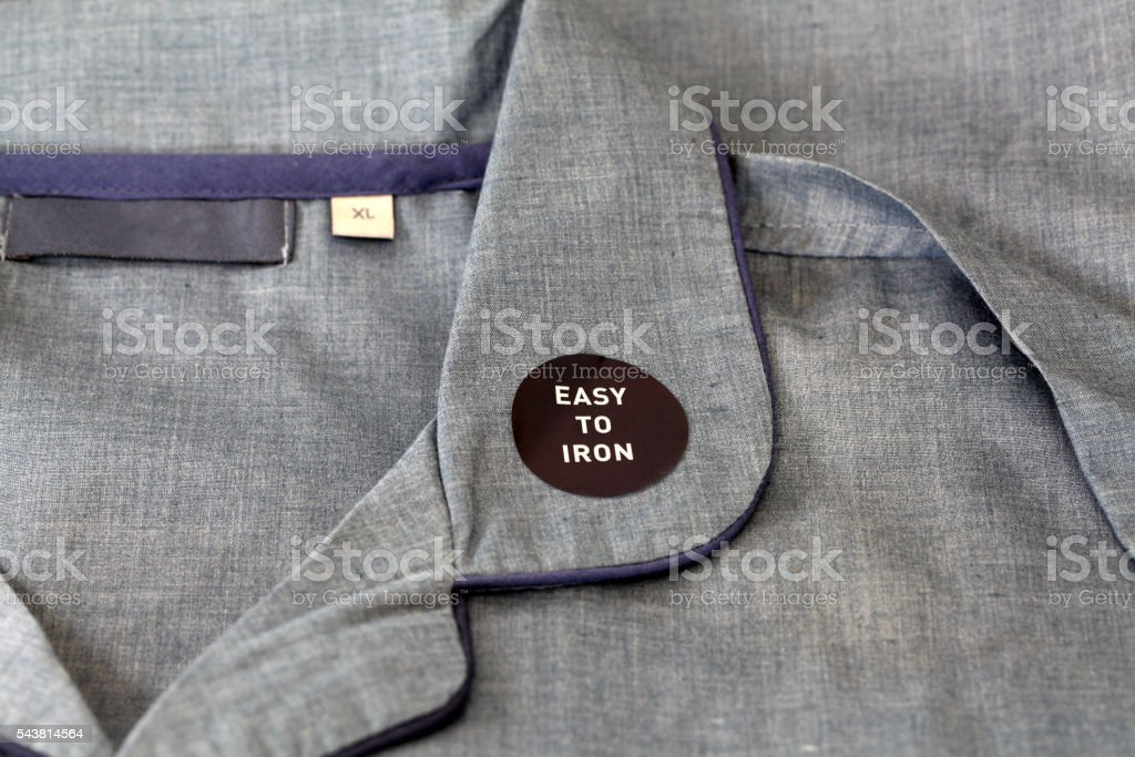 macro label on pyjamas stock photo