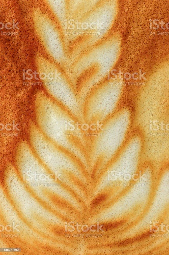Macro Latte art coffee stock photo