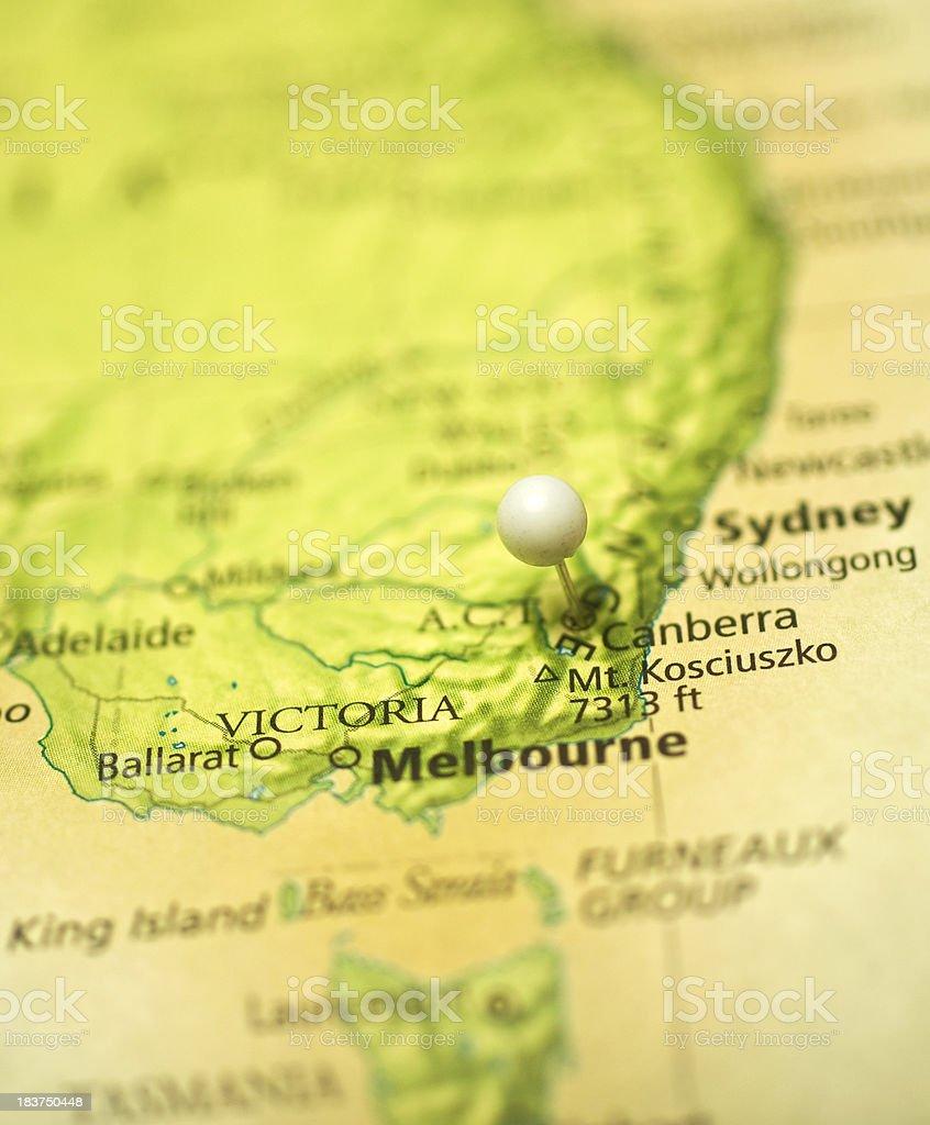 Macro Map Of Melbourne,Canberra,And Sydney Austrailia stock photo