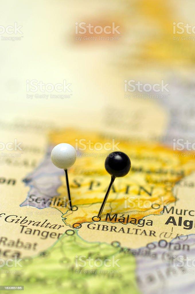 Macro Map Of Sevilla And Malaga Spain royalty-free stock photo