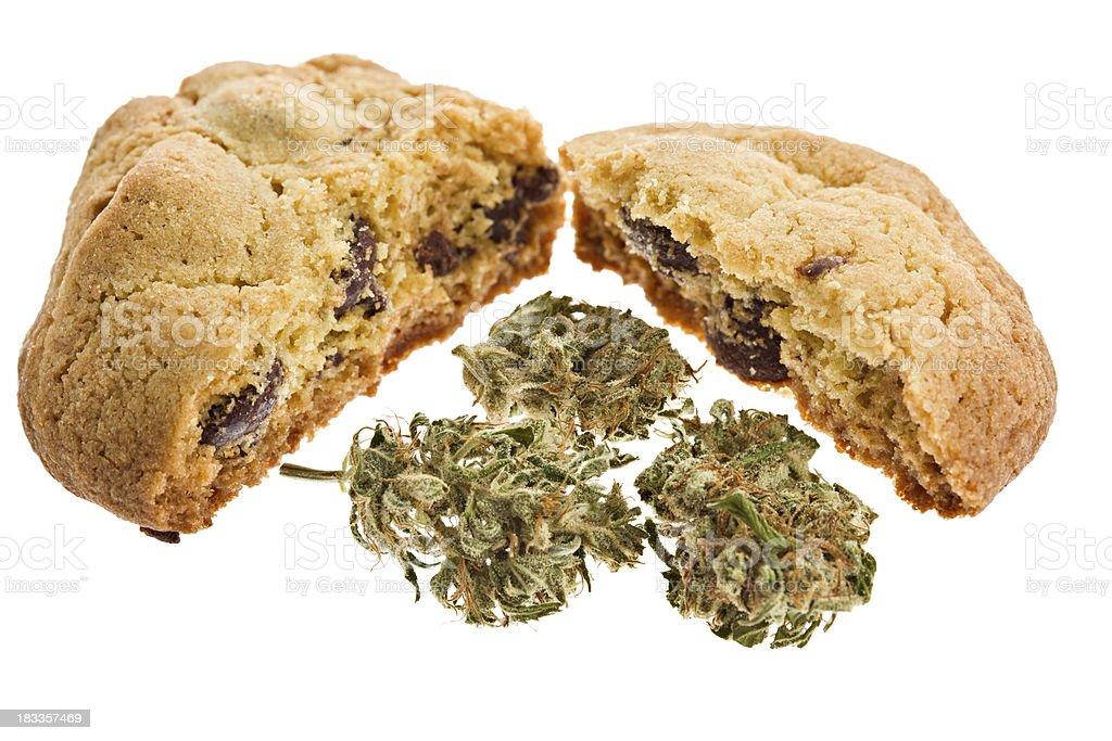 Macro Marijuana Laced Chocolate Chip Cookie royalty-free stock photo