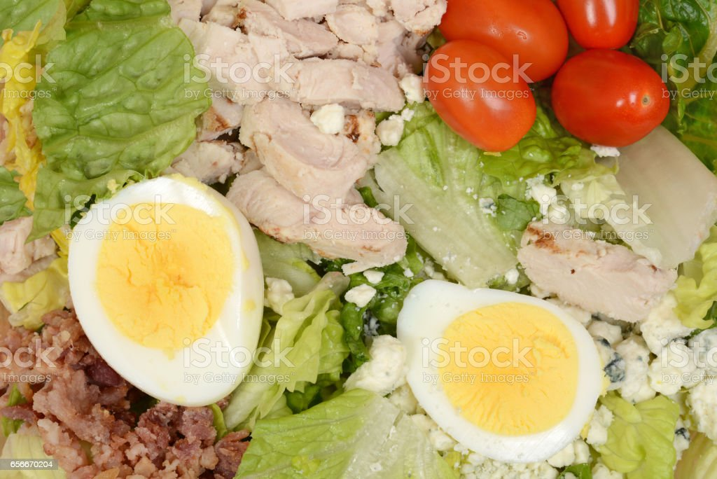 macro mixed salad with egg bacon chicken stock photo