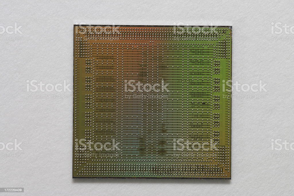 Macro of a bare microchip royalty-free stock photo