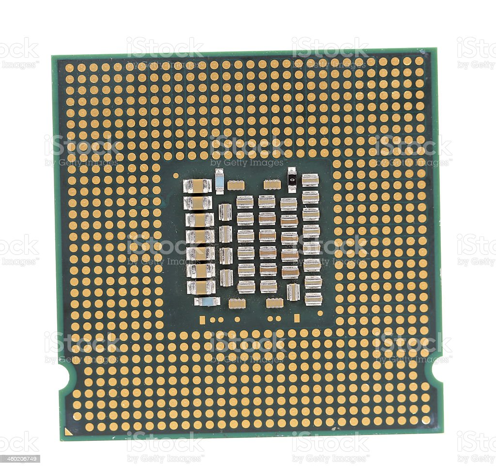 Macro of a computer's processor detail. stock photo