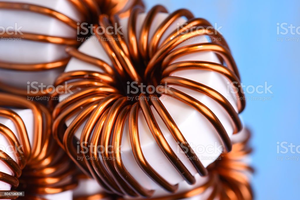 Macro of a copper coils stock photo