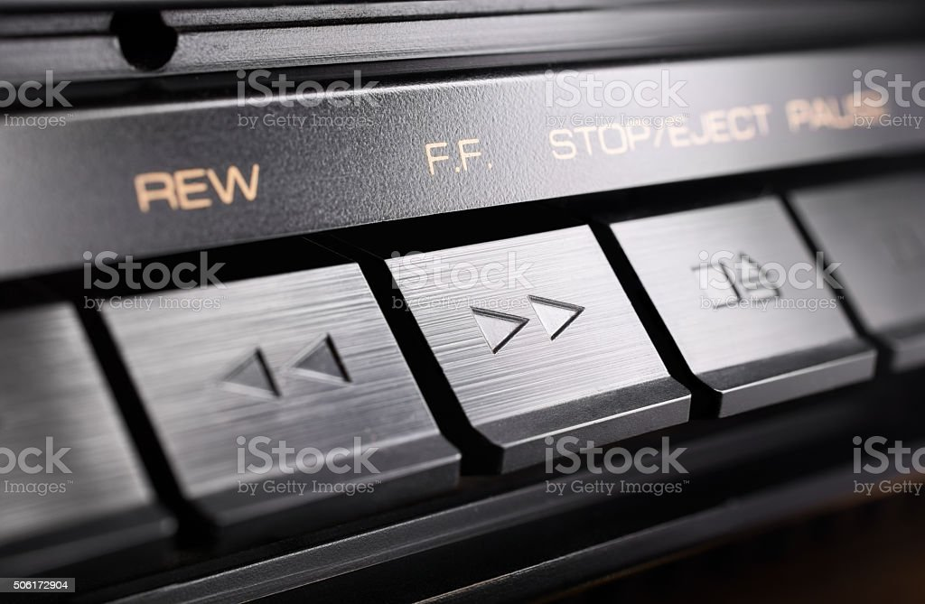 Macro Of A Fast Forward Button Of An Old Audio System stock photo