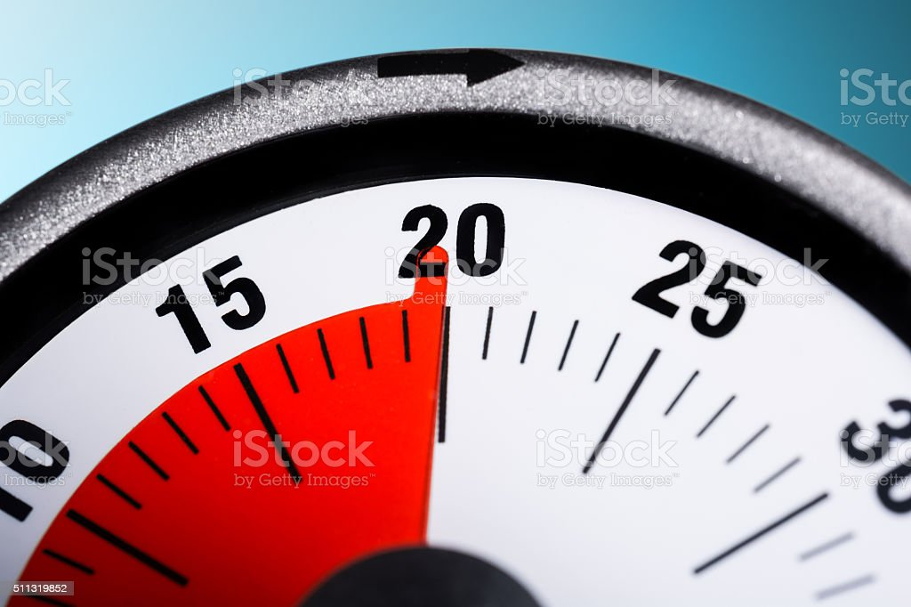 Macro Of A Kitchen Egg Timer - 20 Minutes stock photo