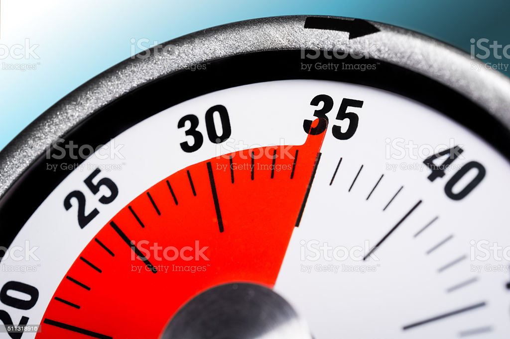 Macro Of A Kitchen Egg Timer - 35 Minutes stock photo