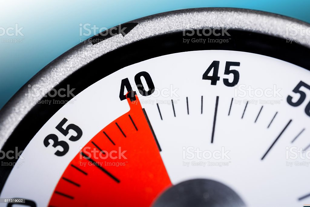 Macro Of A Kitchen Egg Timer - 40 Minutes stock photo