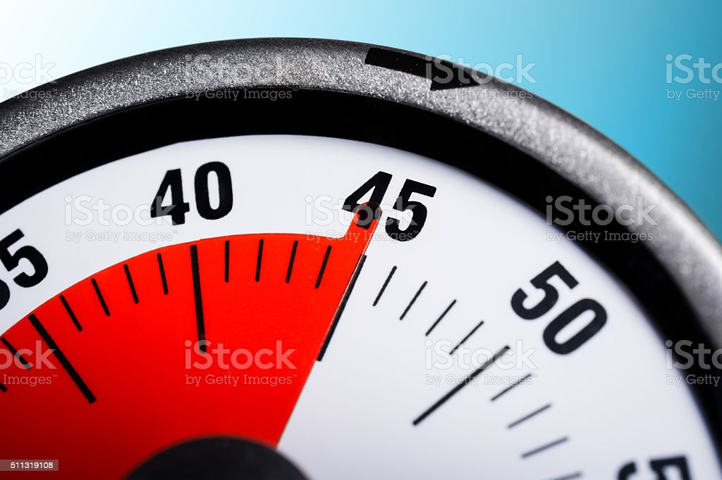 Macro Of A Kitchen Egg Timer - 45 Minutes stock photo