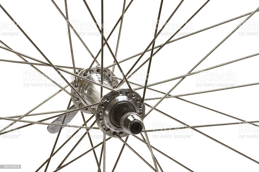 Macro of a mountain bike front wheel hub stock photo