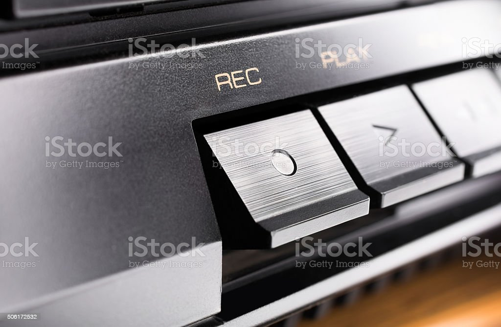 Macro Of A Record Button Of An Stereo Audio System stock photo