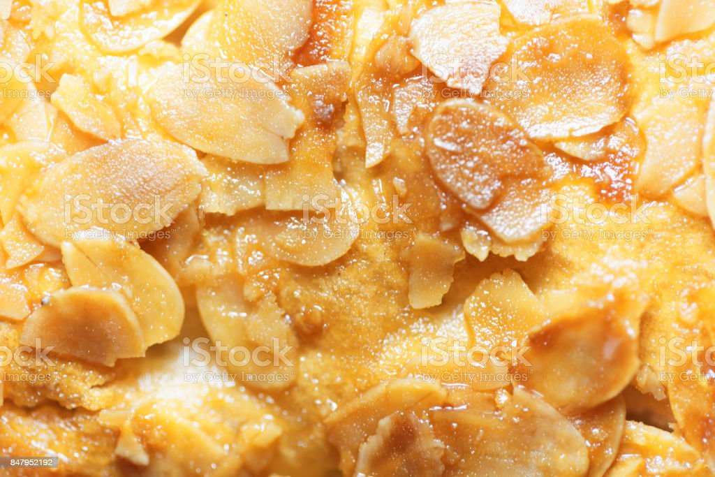 Macro of almond splitters on a cake stock photo