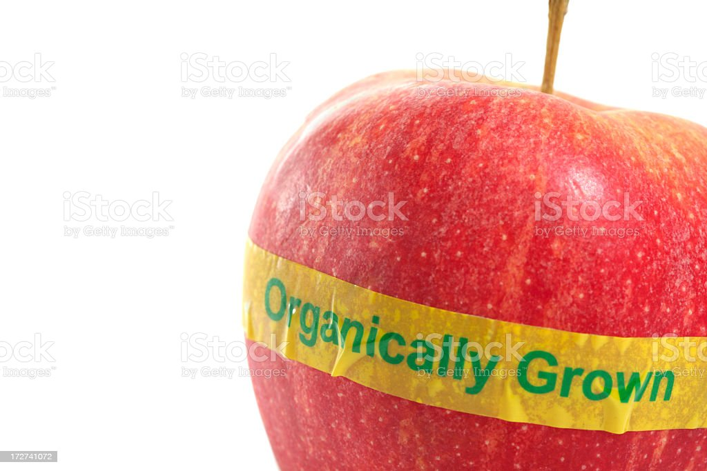 Macro of an organically grown grainy red apple with tape royalty-free stock photo