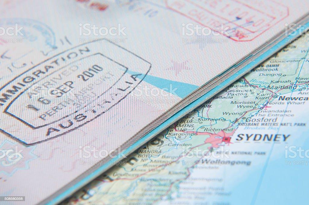 Macro of arrival stamp of Australia in passport stock photo