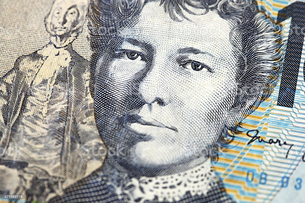 Macro of Aussie $10 Note royalty-free stock photo